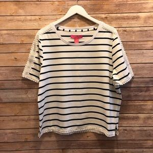 Catherine Malandrino Swiss Dot Trimmed Stripe Tee